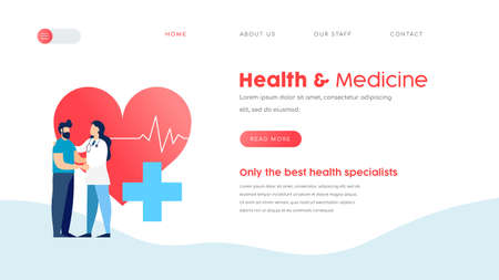 Online doctor services web landing page template. Health and medicine website concept for checkup, appointment or medical exams. EPS10 vector.