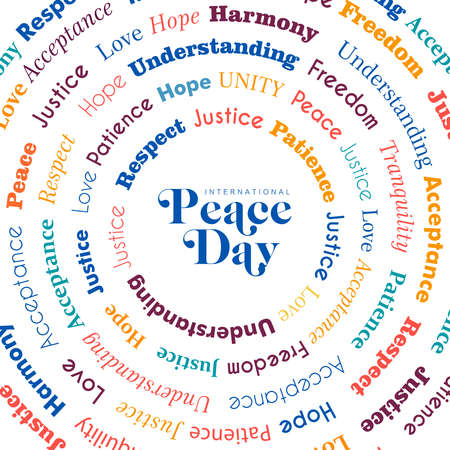 International Peace Day greeting card design with peaceful words for special holiday celebration in colorful style. EPS10 vector. Banque d'images - 107493371
