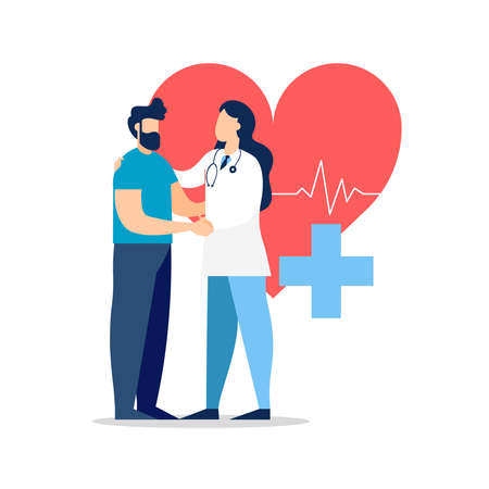 Doctor taking care of patient health for medical exam, checkup or consultation concept. Medicine illustration on isolated background. EPS10 vector. Vektorové ilustrace