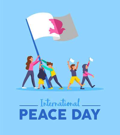 World Peace Day greeting card illustration, diverse friend group of different cultures together for special holiday celebration. Global teamwork help concept. EPS10 vector.