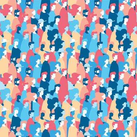 Social community seamless pattern of diverse people group in modern style, colorful crowd loop background with mixed men and women. EPS10 vector.