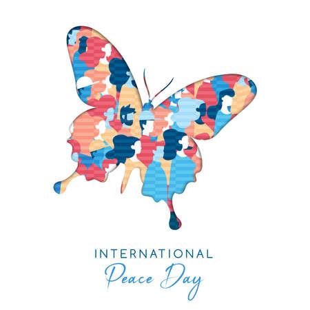 Illustrazione della Giornata internazionale della pace in stile carta tagliata per l'unità della cultura in tutto il mondo. Ritaglio di farfalla con folla di persone diverse. Eps10 vettore. Vettoriali