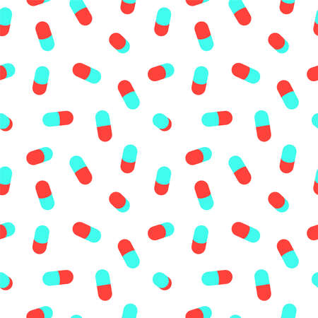 Medicine pill seamless pattern for health or pharmacy concept background. Colorful medical design backdrop. EPS10 vector. Zdjęcie Seryjne - 107493374