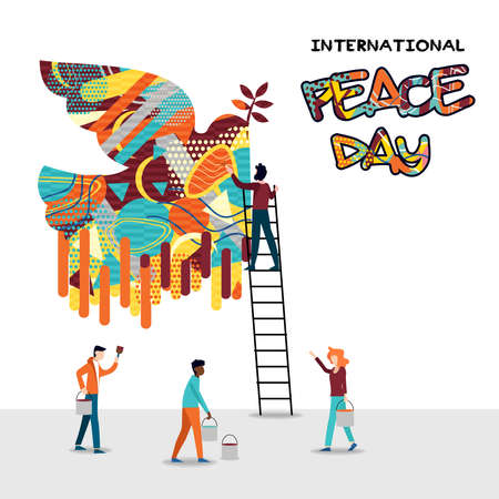 International peace day card for world help and culture unity. Diverse friend group teamwork illustration. EPS10 vector. Illustration