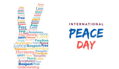 World Peace Day illustration for international freedom and holiday celebration. Hand sign made of peaceful typography quotes. EPS10 vector. 向量圖像