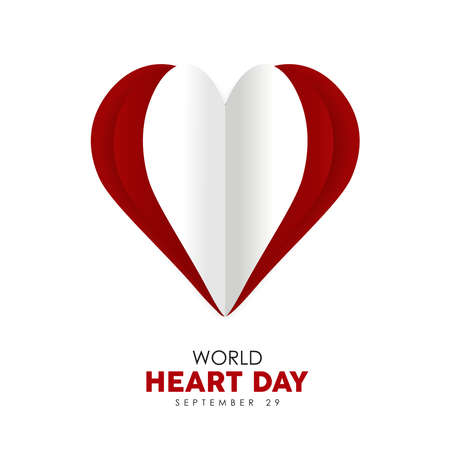 World Heart Day 3d paper cut style illustration of red heartshape cutout for health care awareness. EPS10 vector. Illustration