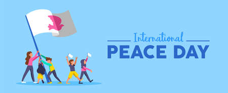 International peace day web banner illustration for culture unity and teamwork worldwide. Diverse people friend group with white dove symbol flag. EPS10 vector. Illustration
