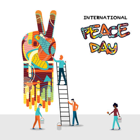 International peace day card for world help and culture unity. Diverse friend group teamwork illustration. EPS10 vector. Stock Illustratie