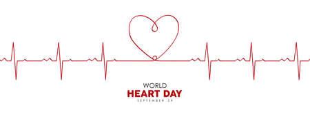 World Heart Day web banner illustration of red heartbeat line for health care awareness. EPS10 vector. Illustration