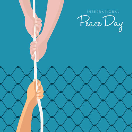 International Peace Day illustration for world help concept, hands rescuing people with rope to freedom. EPS10 vector. Illustration