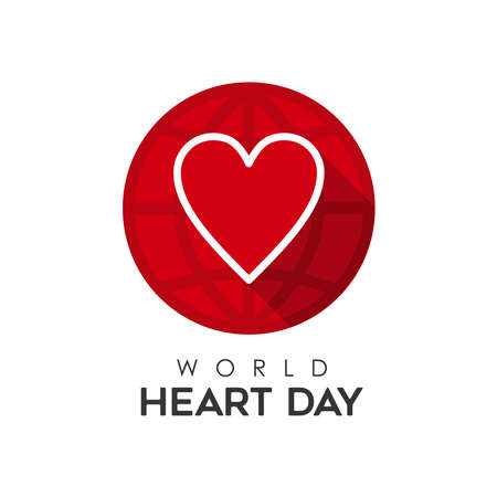World Heart Day typography quote illustration for love and health care. Text sign with red heartshape icon. EPS10 vector.