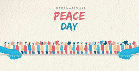 World Peace Day greeting card illustration, diverse people group together for special holiday celebration. International social help concept. EPS10 vector. Çizim