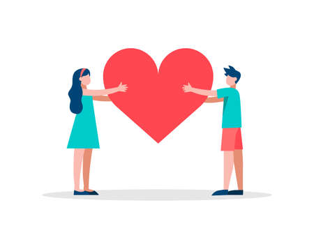 Girl and boy holding red heart shape, illustration for social network like button, health awareness or romantic concept on isolated background. EPS10 vector.