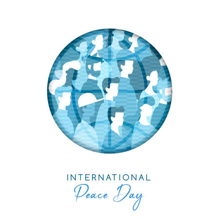 International Peace Day illustration in paper cut style for culture unity around the world. Circle cutout with diverse people crowd. EPS10 vector.