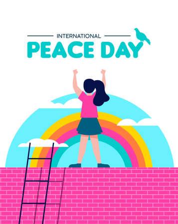 International Peace day illustration, world children freedom concept. Free girl celebrating on rainbow sky background. EPS10 vector.