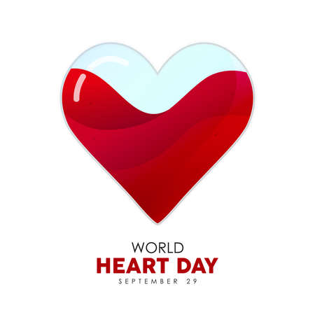 World Heart Day illustration of red heartshape for health care awareness and support. EPS10 vector.