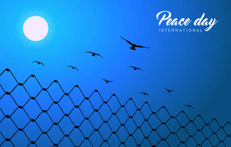 International Peace Day illustration for world freedom. Free dove birds flying over barbed wire fence. EPS10 vector.