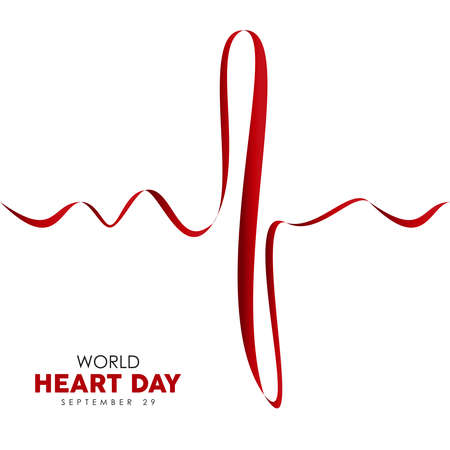World Heart Day web banner illustration of red heartbeat line for health care awareness. EPS10 vector. Illustration
