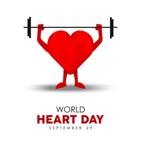 Ilustración del Día Mundial del Corazón para un estilo de vida saludable y concepto de ejercicio, personaje en forma de corazón rojo levantando pesas deportivas. Eps10 vector.
