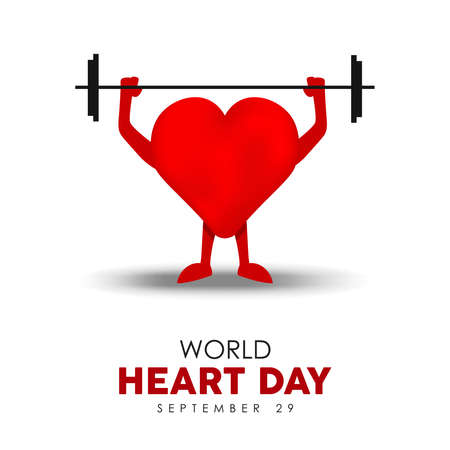 World Heart Day illustration for healthy lifestyle and exercise concept, red heartshape character lifting sport weights. EPS10 vector. Illustration