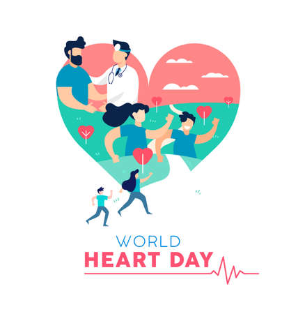 Concepto de ilustración del Día Mundial del Corazón, conciencia sobre el cuidado de la salud. Gente corriendo para la prevención de enfermedades y médico con paciente. Eps10 vector. Foto de archivo - 107334365