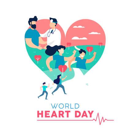Concetto dell'illustrazione di giornata mondiale del cuore, consapevolezza dell'assistenza sanitaria. Persone che corrono per la prevenzione delle malattie e medico con il paziente. Vettore Eps10.