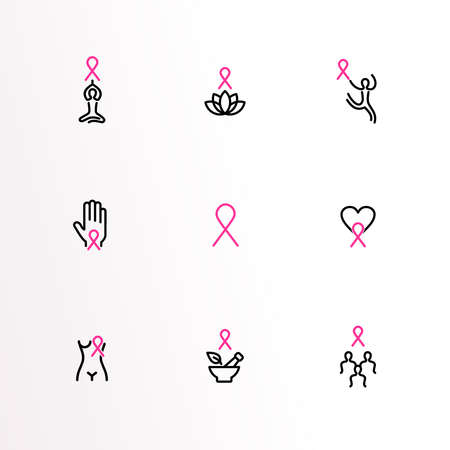 Breast Cancer Awareness month outline icon set, pink ribbon symbol collection for health and support. Includes women survivor, love heart, girl team. EPS10 vector.