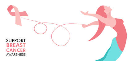Breast Cancer Awareness illustration of woman with pink ribbon for health and support concept, web banner design. EPS10 vector.