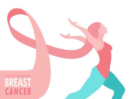 Illustrazione di consapevolezza del cancro al seno della donna con il nastro rosa come capelli per l'atteggiamento felice e il concetto di supporto. Eps10 vettore. Vettoriali