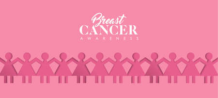 Breast Cancer Awareness Month web banner illustration of survivor women together, health support in paper cutout style. Pink papercut woman group with text quote. EPS10 vector.