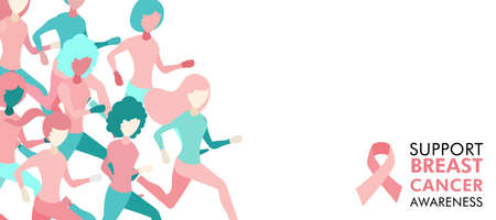 Breast Cancer Awareness illustration of women group running for charity marathon, benefit event or health support, web banner design. EPS10 vector.
