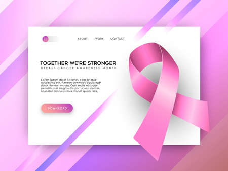 Breast Cancer Awareness internet landing page template with pink ribbon for health and support, social media charity or online help. EPS10 vector.