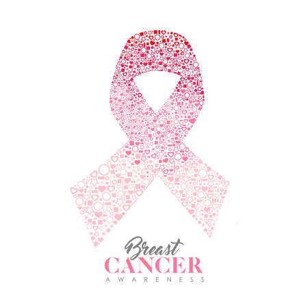 Breast Cancer Awareness Month illustration for survivor women and health support. Pink ribbon shape made of love heart outline icons with text quote. EPS10 vector.