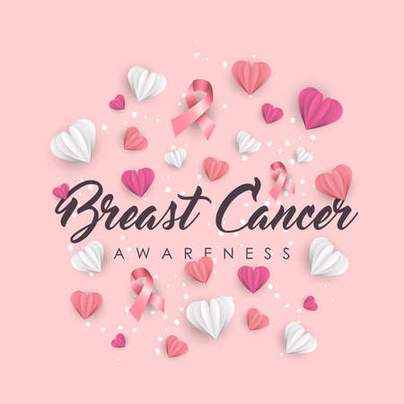 Breast Cancer Awareness illustration for support. Paper cut hearts and pink ribbons with typography quote. EPS10 vector. Çizim