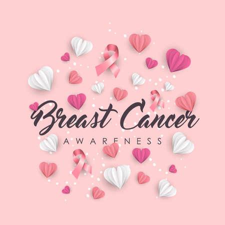 Ilustración de concientización sobre el cáncer de mama para apoyo. Papel cortado corazones y cintas rosas con cita de tipografía. Eps10 vector.