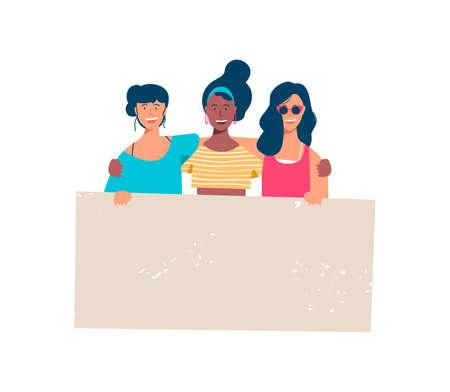 Diverse Frauengruppe, die leeres Banner für Text zu besonderen Anlässen hält. Fröhliche junge Freundinnen mit leerer Zeichenvorlage bei Frauenrechtsprotest, Wohltätigkeitsbeihilfe oder Studentenparade. EPS10-Vektor. Vektorgrafik
