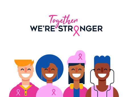 Ilustración del mes de concientización sobre el cáncer de mama de diversos grupos de amigos de niñas y niños juntos por apoyo, concepto de amigos adolescentes. Eps10 vector.