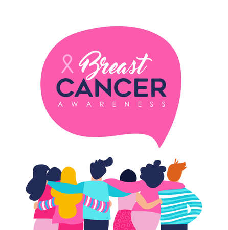 Breast Cancer Awareness month illustration of diverse women and men friend group hugging together for support, mixed team hug concept. EPS10 vector.