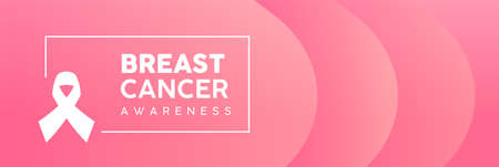 Breast Cancer Awareness Month web banner illustration in pink color. Modern feminine background gradient with ribbon symbol text quote sign. EPS10 vector.