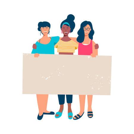 Diverse Frauengruppe, die leeres Banner für Text zu besonderen Anlässen hält. Fröhliche junge Freundinnen mit leerer Zeichenvorlage bei Frauenrechtsprotest, Wohltätigkeitsbeihilfe oder Studentenparade. EPS10-Vektor.
