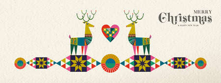 Merry Christmas and Happy New Year banner illustration of cute deer in vintage geometric shape style, colorful winter holiday Scandinavian design. EPS10 vector. Illustration