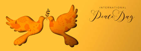 International Peace Day holiday social media banner illustration. Paper cut dove bird shape silhouette cutout with nature doodle decoration background.