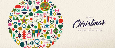 Merry Christmas and Happy New Year banner illustration of vintage geometric shape icons, colorful winter holiday Scandinavian design. EPS10 vector.