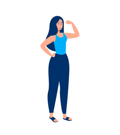 Strong woman isolated illustration. Young female doing flexing gesture with arm for girl power, strength or health and fitness concept. EPS10 vector.