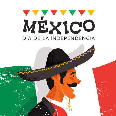 Mexico independence day illustration of traditional mariachi character. Hand drawn mexican man with sombrero and spanish language text on country flag background. EPS10 vector. Vettoriali