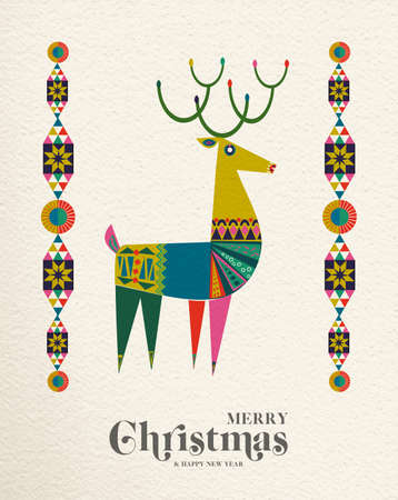 Merry Christmas and Happy New Year folk art greeting card illustration. Scandinavian style deer with traditional geometric shapes in festive colors. EPS10 vector.