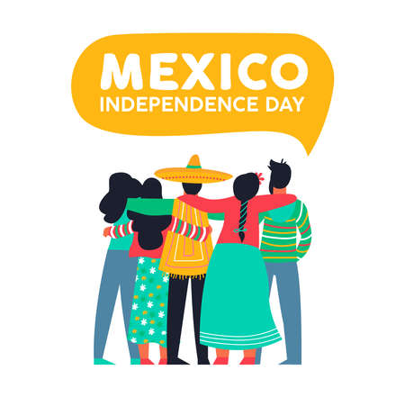 Mexico happy independence day illustration background. Mexican diverse friends people group hugging together for september 16 national event celebration. Eps 10 vector.