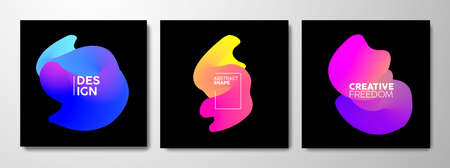 Abstract gradient shape set, modern background design with bright color liquid elements in motion. Dynamic colorful collection for business, internet or brochure. EPS10 vector.