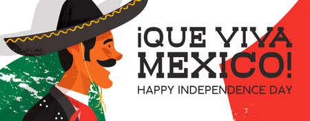 Illustrazione della bandiera di web del giorno dell'indipendenza del Messico del carattere tradizionale di mariachi. Uomo messicano disegnato a mano con sombrero e vestiti tipici sul fondo della bandiera del paese. Vettore Eps10. Vettoriali