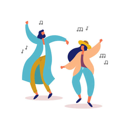 Young man and woman friends dancing together to party music on isolated background. Stylish people at festival event, outdoor concert or club dance floor. EPS10 vector.